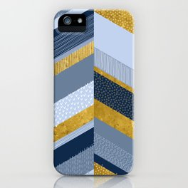 Chevron with Textures / Gold Effect and Denim Blue iPhone Case