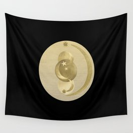 Black Gold Moon and Stars #1 #decor #art #society6 Wall Tapestry