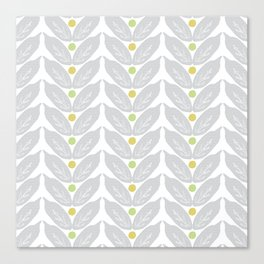 Grey Vine Modern Botanical Pattern Canvas Print