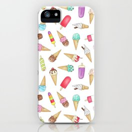 Scattered Ice Creams and Ice Lollies iPhone Case