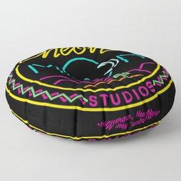 Neon Moon Studios Logo - Square on Black Floor Pillow