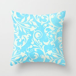 Shabby Chic Aqua Damask Throw Pillow
