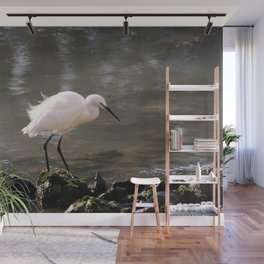 white heron bird by the river Wall Mural