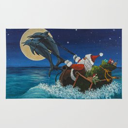 Riding The Waves With Santa Rug