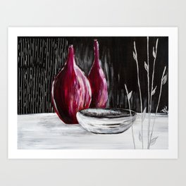 Black white still life painting Art Print
