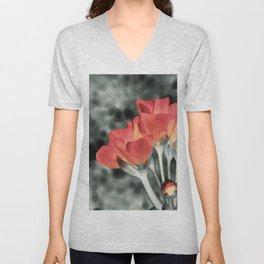 Coral Orange Peach Flowers Unisex V-Neck