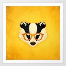 Hipster Badger: Gold Art Print