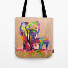 Elephants mother and son Tote Bag