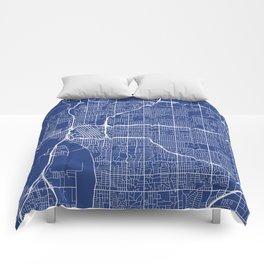Tulsa Map, USA - Blue Comforters