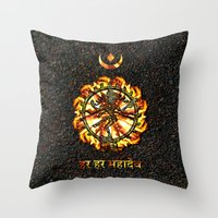 shiva Throw Pillows featuring Shiva  by Khana's Web