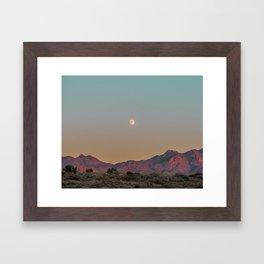 Sunset Moon Ridge // Grainy Red Mountain Range Desert Landscape Photography Yellow Fullmoon Blue Sky Framed Art Print