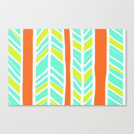 Stripes: Orange, Yellow, Blue Canvas Print