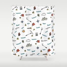 Adventure Pattern | Camping Pattern | Hiking Pattern | Hand Drawn Outdoors Pattern Shower Curtain