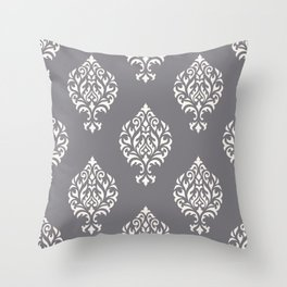 Orna Damask Pattern Cream on Grey Throw Pillow