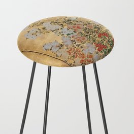Japanese Edo Period Six-Panel Gold Leaf Screen - Spring and Autumn Flowers Counter Stool