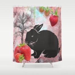 Black Rabbit and Strawberries Shower Curtain