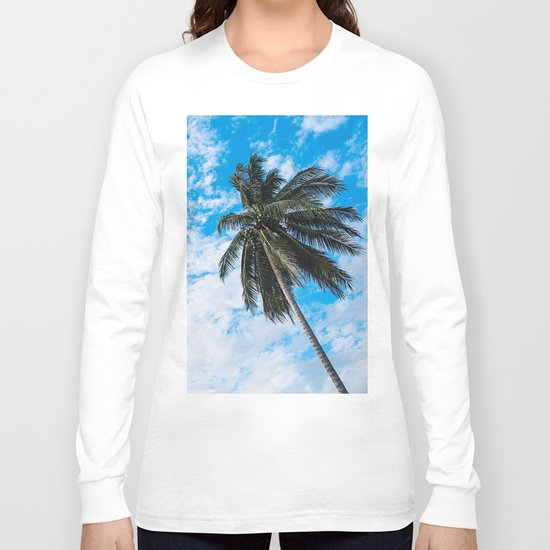 Palm Tree under Blue and White Long Sleeve T-shirt