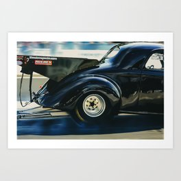 1940 Willys Coupe Burnout at Beech Bend Dragstrip Art Print