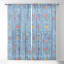 Heart of Silver – Blue Bell – Scandinavian Folk Art Sheer Curtain