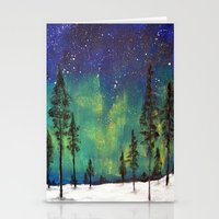 northern lights Stationery Cards featuring Northern Lights by Ruth Oosterman