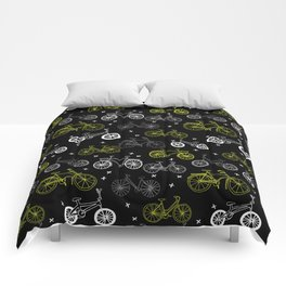 Bicycles cycle pattern black and white by andrea lauren Comforters