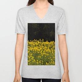 Sunflower Field On A Dark Background #decor #buyart Unisex V-Neck