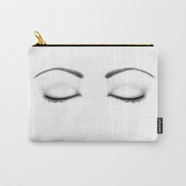 Closed Eyes Original Sketch Drawing - Eyes Art, Apparel and Accessories Carry-All Pouch