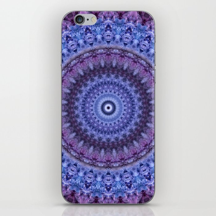Mandala in violet and blue tones iPhone Skin