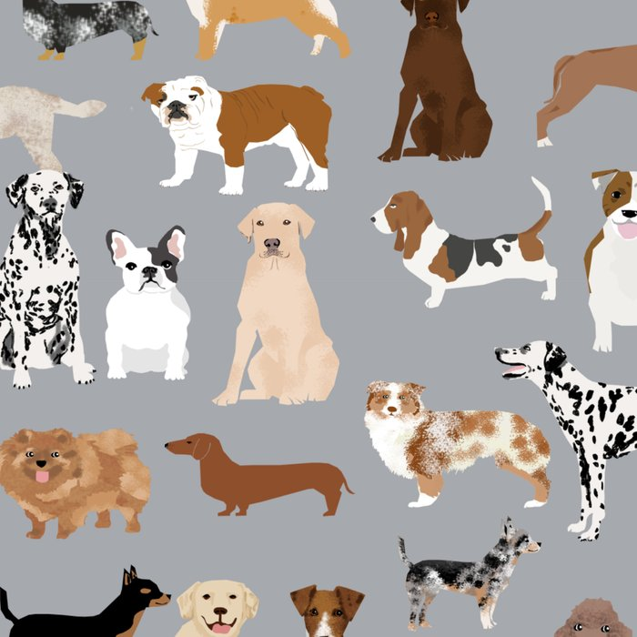 Mixed Dog lots of dogs dog lovers rescue dog art print pattern grey poodle shepherd akita corgi Leggings