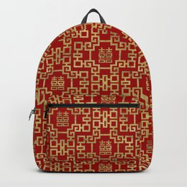 Chinese Pattern Double Happiness Symbol Gold on Red Backpack