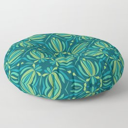 Abstract Stripey Floral - Nordic Night (pattern) Floor Pillow