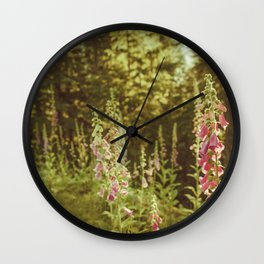 A New Day II Wildflowers at Dawn - Nature Photography Wall Clock
