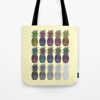 pineapples Tote Bags featuring Pineapples by Hinterlund