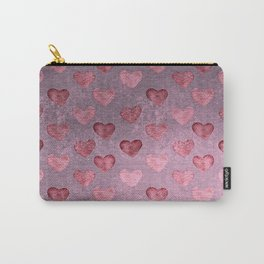 Pink Hearts On Greyed Lilac Carry-All Pouch