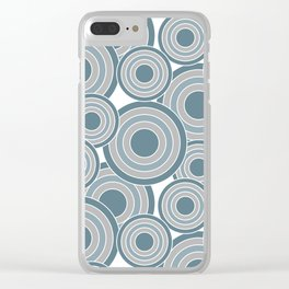 Overlapping Circles in Slate Blue and Gray Clear iPhone Case