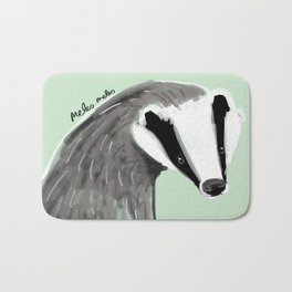 Adorable Badger ( Meles meles ) Bath Mat