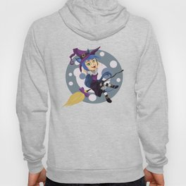 Smiling friendly witch flying on broom Hoody