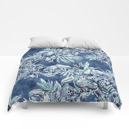 TOUCAN PLAN Indigo Tropical Pattern Comforters