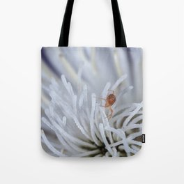 Clover Mite on a clematis Tote Bag