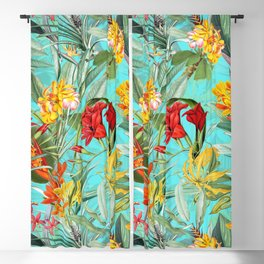 Vintage & Shabby Chic - Colorful Tropical Blue Garden Blackout Curtain
