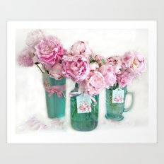 Romantic Shabby Chic Cottage Pink Aqua Watercolor Peonies Print Home Decor Art Print