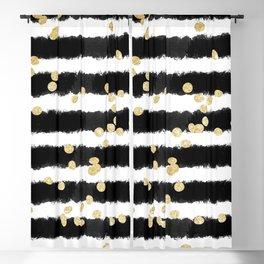 Modern black watercolor stripes chic gold confetti Blackout Curtain