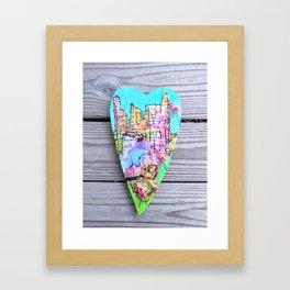 Heart Miami Flamingo City Framed Art Print
