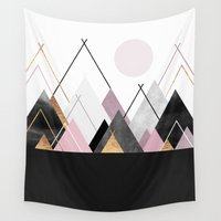nordic Wall Tapestries featuring Nordic Mountains by Elisabeth Fredriksson