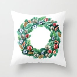 Christmas wreath. New Year decoration. Adornment coniferous green with cones, balls, snowflakes red bows. Throw Pillow