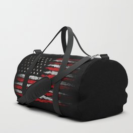Red & white Grunge American flag Duffle Bag