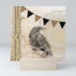 Crow, Brown Banner, Doily, Digital Design Mini Art Print