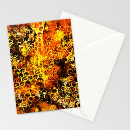 bees fill honeycombs in hive splatter watercolor Stationery Cards