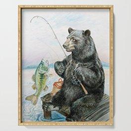 Black Bear catching a Bass Serving Tray