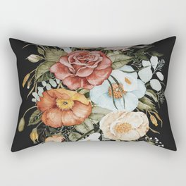 Roses and Poppies Bouquet on Charcoal Black Rectangular Pillow